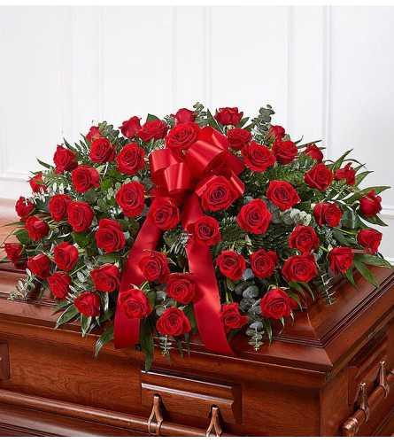 Beautiful Red Rose Casket Spray