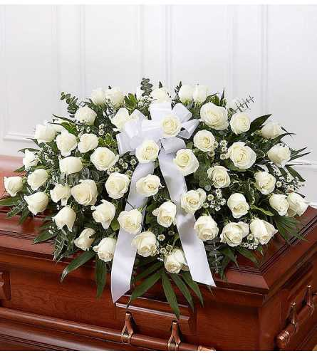 Lovely White Rose Casket Spray