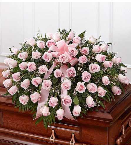 Pink Rose Half Casket Spray