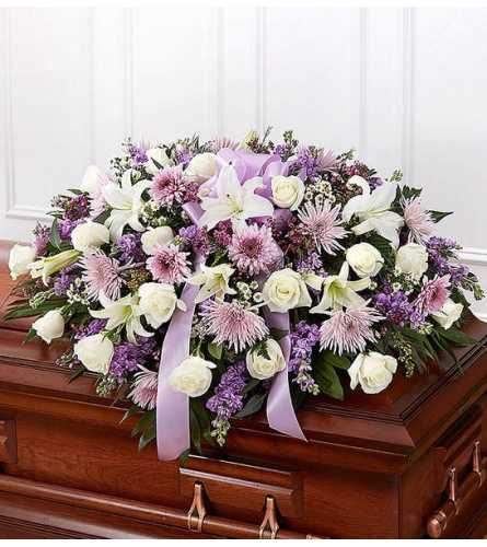 Blue & White Mixed Half Casket Spray