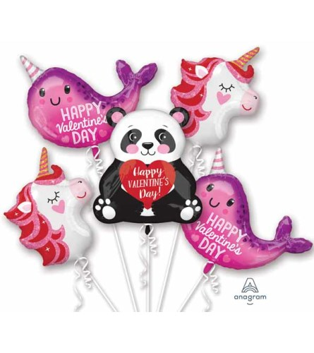 Valentine's Day Characters Super Fun Foil Balloon Bouquet
