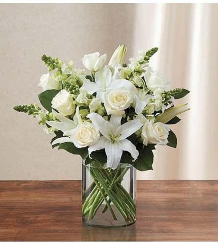 All white arrangement for sympathy