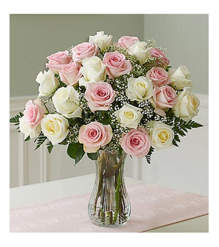 24 Premium pink and white roses in a vase with greens and fillers