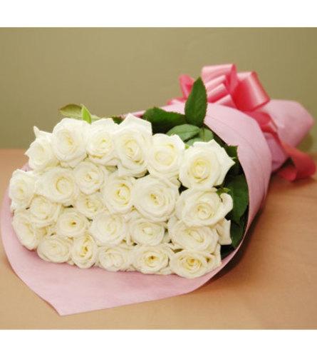 24 Long stem premium white roses loose wrapped
