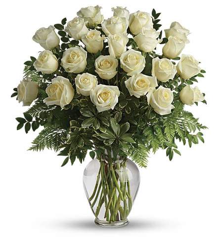 24 White roses in a vase with greens and fillers