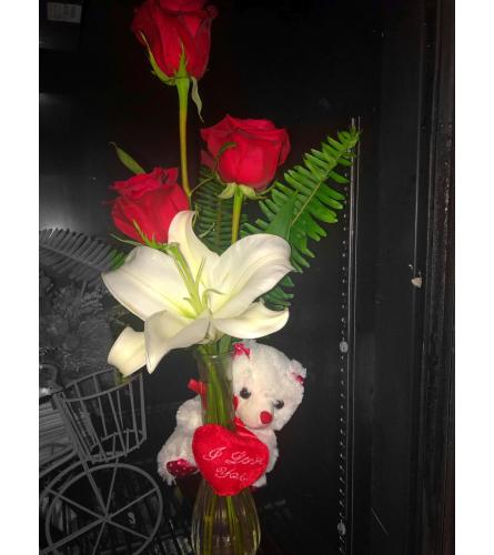 3 Red Roses white lily and I love you Teddy bear