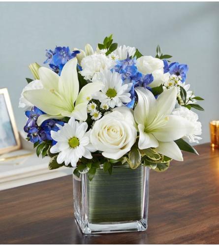 Blue and White Sympathy Arrangement