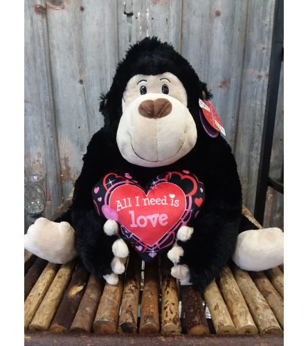 'All I Need Is Love' Large Plush Gorilla
