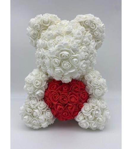 Large White rose bear with box 38cm(ONLY AVAILABLE IN BROOKLYN NY