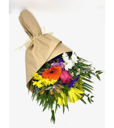 Assorted wild flowers loose wrapped bouquet