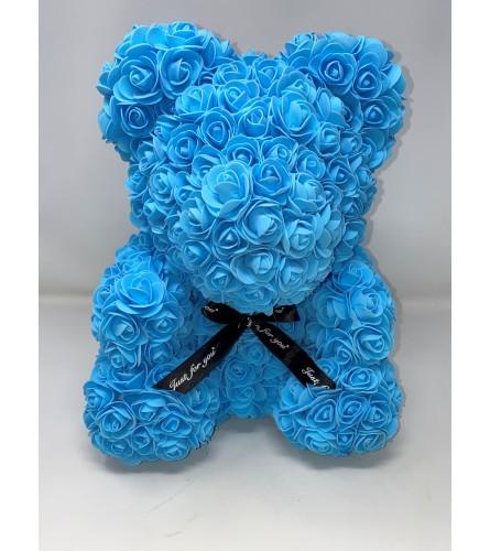 """Rose Bear 16"""" Blue"""