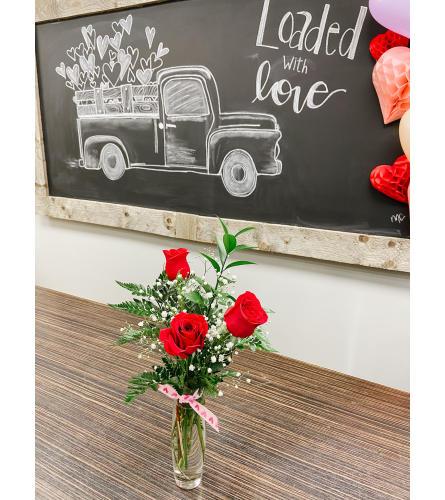 3 Red Roses Vased