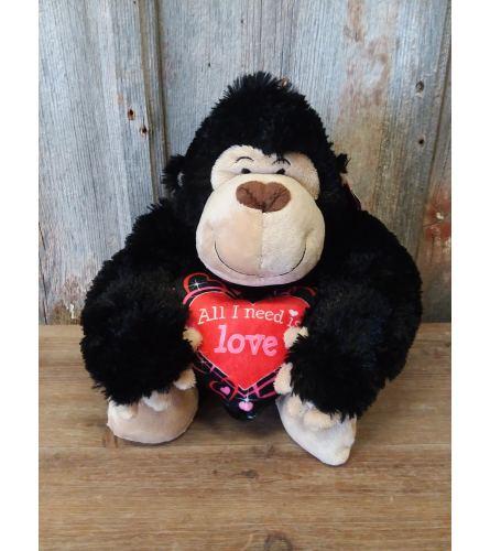'All I Need Is Love' Small Plush Gorilla