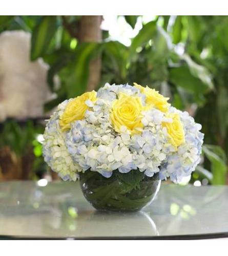 Blue Hydrangea,Yellow Roses in a Glass Fishbowl