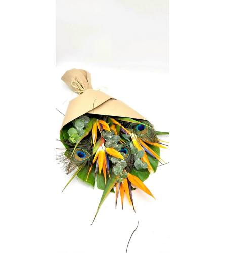 5 Birds of paradise with peacock feathers  loose wrapped with gre