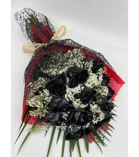 1 Dozen Black roses with greens and fillers loose wrapped