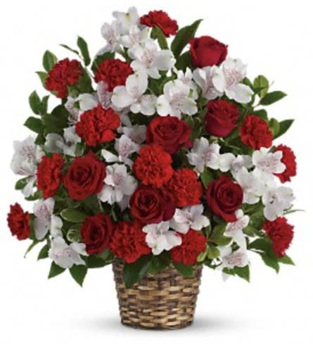 White and Red Sympathy basket by O'Flowers