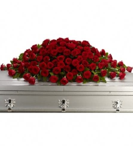 Red Casket Spray by O'Flowers