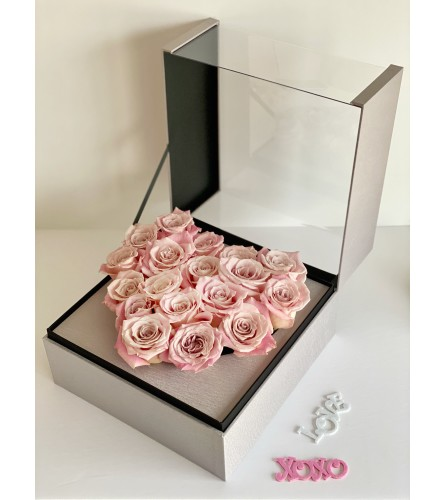 Stunning Pink Roses (red, pink, grey. black boxes)
