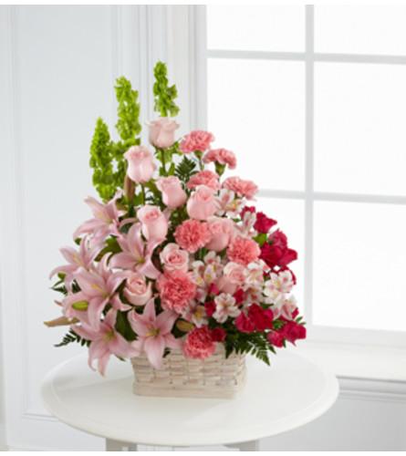 Pink Sympathy Basket by O'Flowers