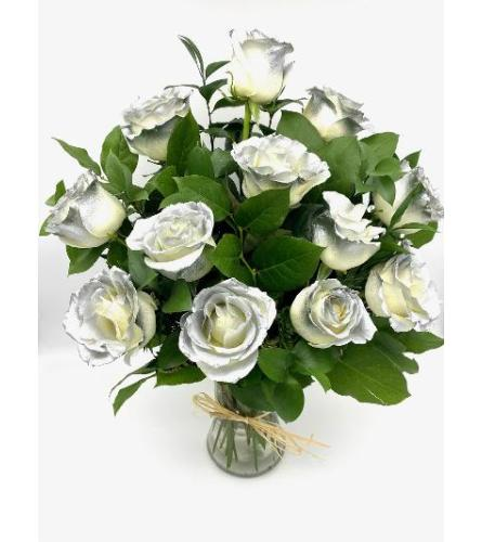 1 Dozen Silver Tipped Roses in a Vase With Greens and Fillers