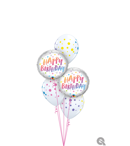 Rainbow Dots Birthday Classic Balloon Bouquet