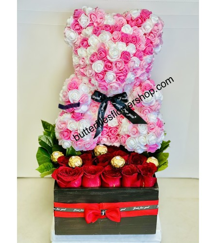 12 Roses and Pink & White Bear