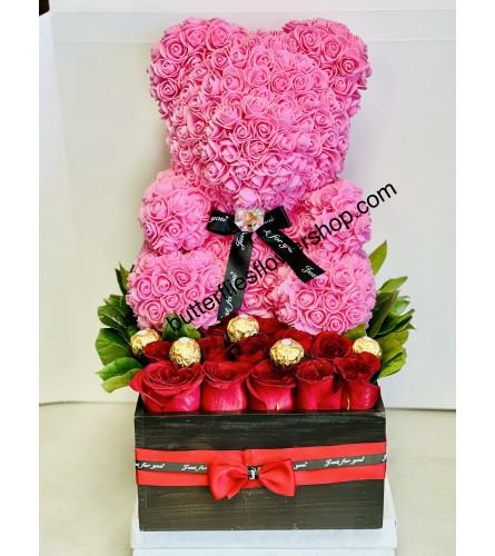 Dozen Roses and  Pink Bear