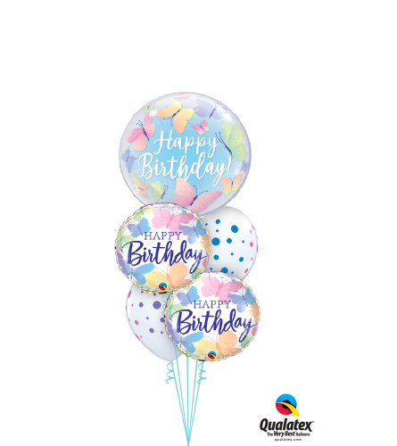 Butterfly Birthday Wishes Cheerful Bubble Balloon Bouquet