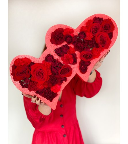 Double Hearts (red and pink availble)