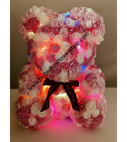 White/Pink FLOWER BEAR WITH LIGHTS