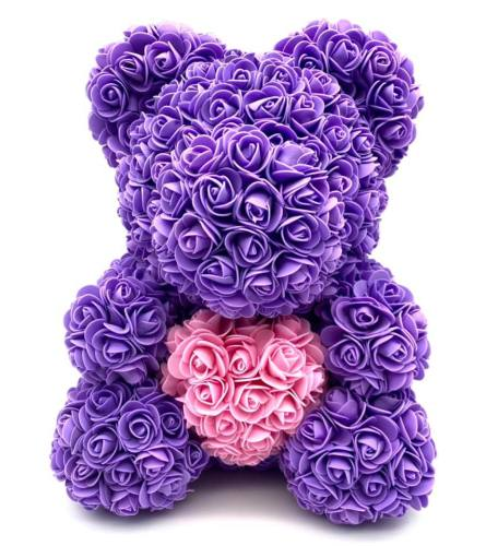 Large Purple Rose Bear 16 Inch(ONLY AVAILABLE IN BROOKLYN NY)