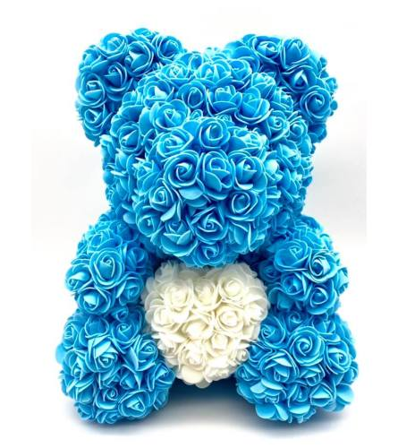 Large Blue Rose Bear 38cm(ONLY AVAILABLE IN BROOKLYN NY)