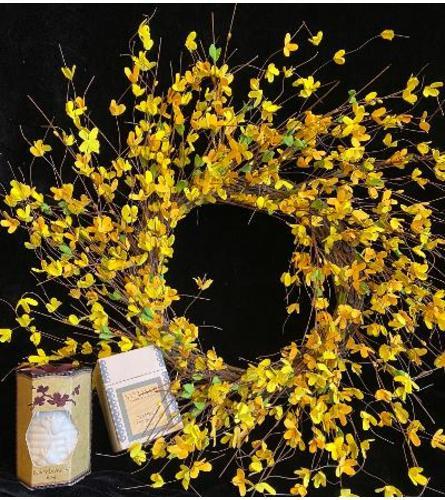 Forsythia wreath & gift