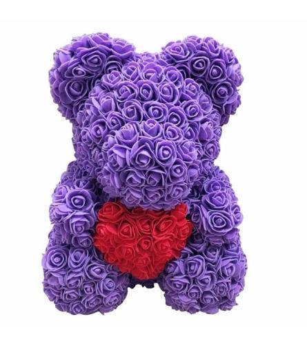 PURPLE LOVE HEART ROSE BEAR
