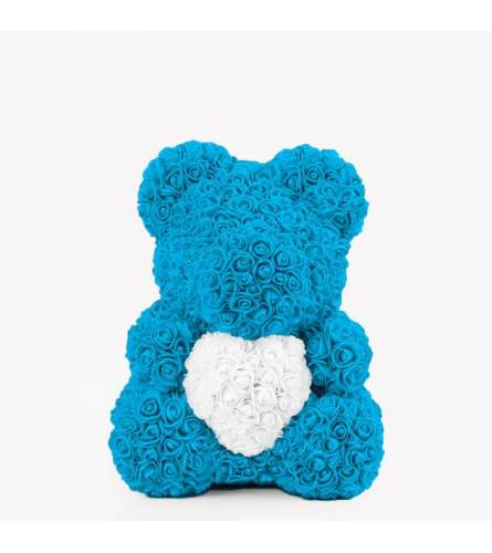 BLUE LOVE HEART ROSE BEAR
