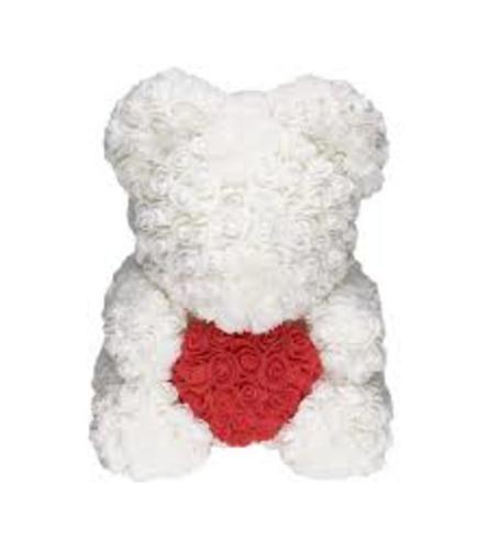 WHITE LOVE HEART ROSE BEAR
