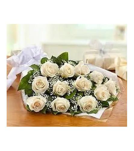 Dozen White Roses Wrapped