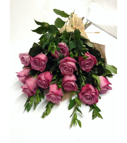 Dozen Purple Roses Wrapped