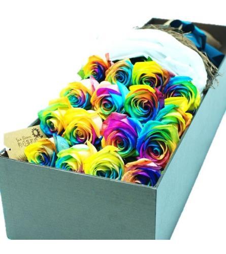 Dozen Rainbow Roses Boxed