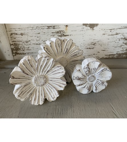 White Washed Wooden Flowers