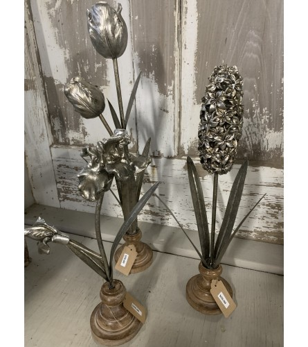 Varying Metal Flowers with Wooden Base