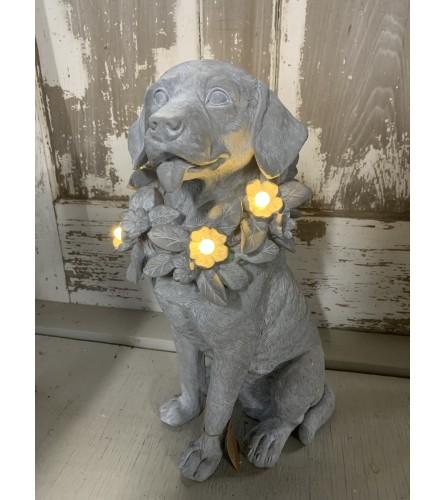 Lighted Collar Dog Statue