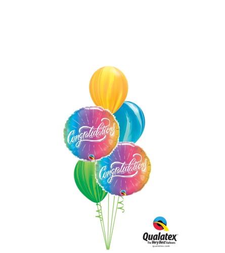 Rainbow Swirl Congratulations Classic Balloon Bouquet