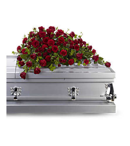 Red Rose Remembrance Casket Spray
