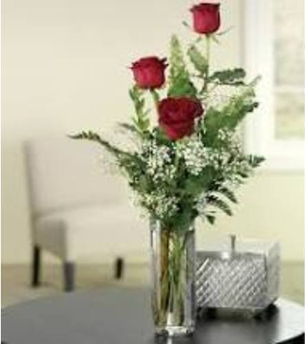 Three Red Roses in a Bud Vase