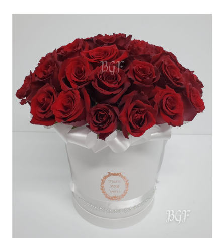 Red Roses in White Glamour Box