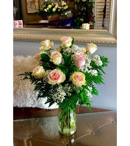 Dozen Delicate Pink Roses