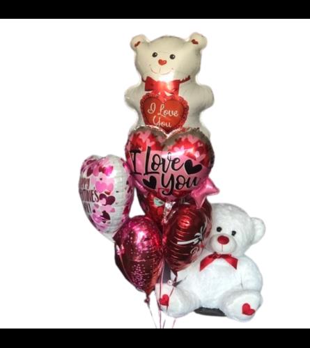 Valentines Balloons Bouquet w/white plush Bear