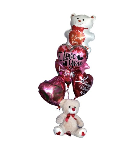 Valentine's Day balloons  bouquet with a beige plush bear